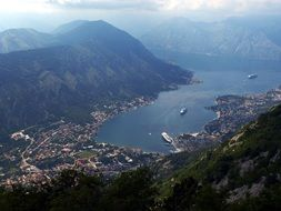 A bird's-eye view of the picturesque landscape of Montenegro