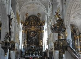 rich interior of Neuburg castle in Germany