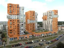apartment buildings with orange walls in poland