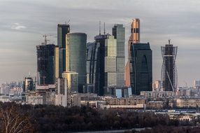 view of skyscrapers in Moscow
