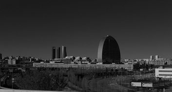 Black and white photo of madrid