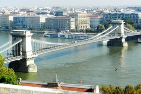 chain bridge over a river in budapest
