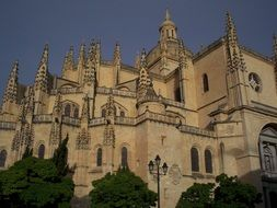 Cathedral as an architectural monument in the city of Segovia in Spain