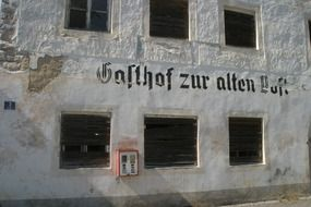 Old building with graffiti in the Gasthof