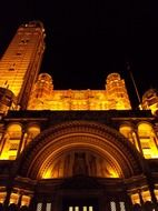 Westminster Cathedral with yellow lights at night