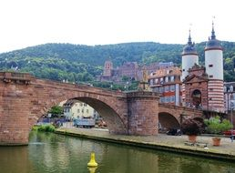 red brick bridge over the river Neckar in Heidelberg