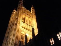 westminster palace in night lighting