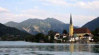 church on the shores of the picturesque lake Wallberg in bavaria