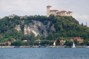 view from the lake maggiore on the Borromeo Castle, Italy