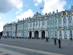 The facade of the winter palace in St. Petersburg