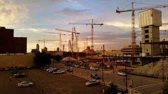 cranes on a construction