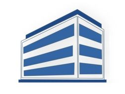 office building blue white stripes drawing