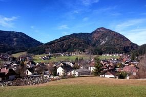village near mountains in austria