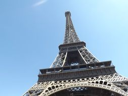 Eiffel Tower in France against the blue sky