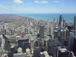 Chicago skyline architecture panorama aerial view