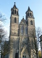 Church of Saint Jochannis, Jochanniskirche at winter, germany, magdeburg