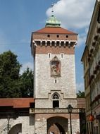 medieval gate tower in city wall, poland, krakow