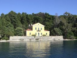 remote view of a house on the coast on the island of lefkada