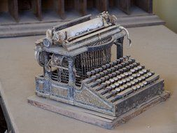 old typewriter covered with dust, usa, california, bodie