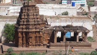 panorama of the ruins of the temple in badami