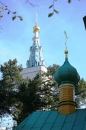 yellow and turquoise orthodox church