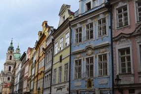 beautiful building facades in Prague, Czech Republic