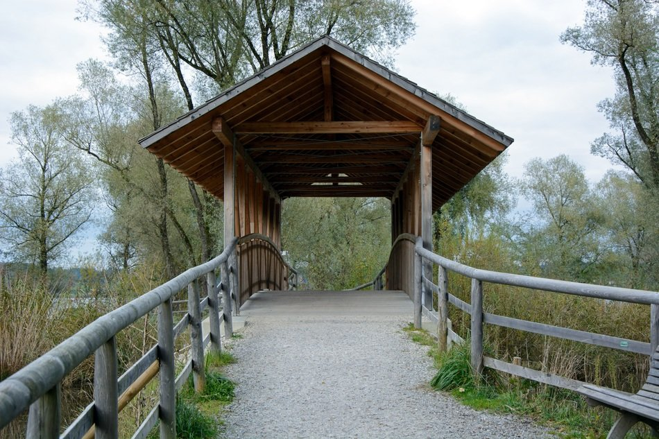 bridge covered wooden roof