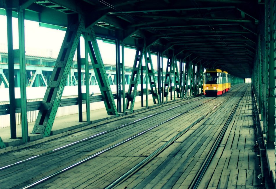 Train on the bridge in Warsaw in Poland