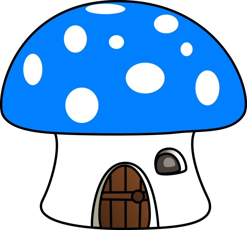 blue mushroom house as a drawing