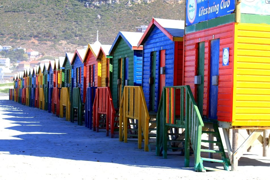 colorful beach cabins in South Africa