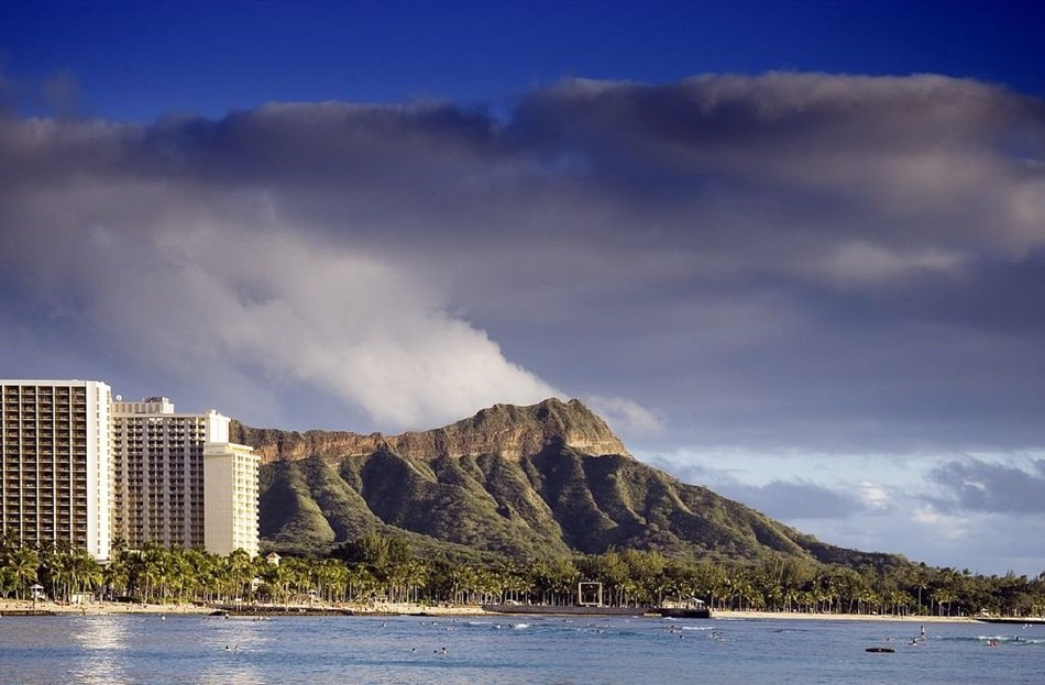 distant view of a volcano in honolulu