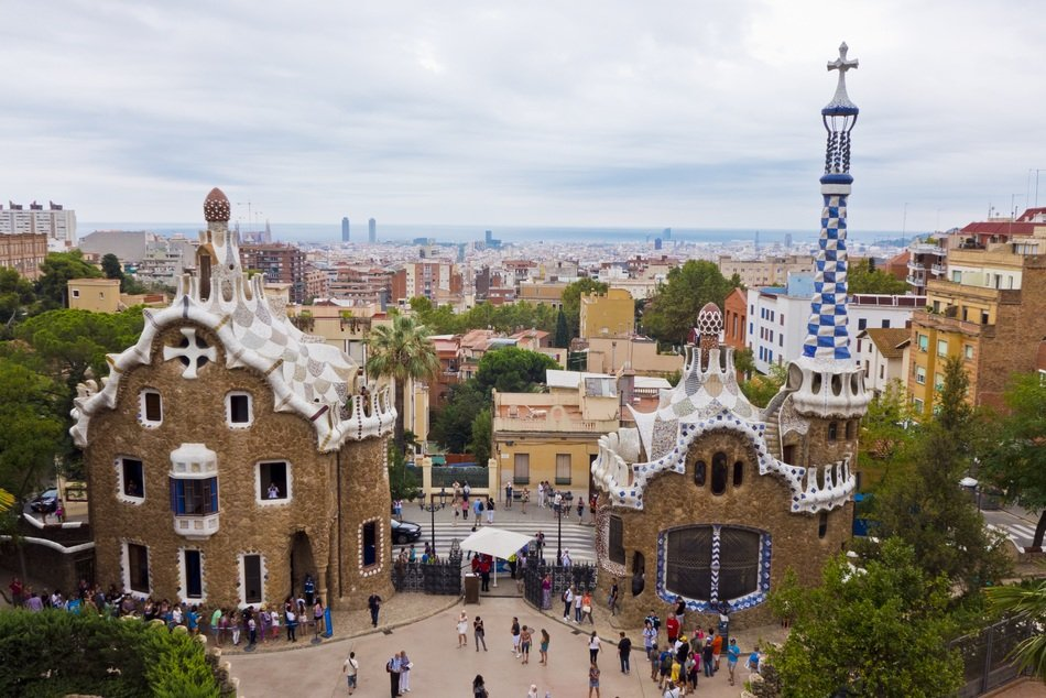 Beautiful park guell in Barcelona city