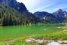 green lake mountains green forest