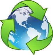 recycling symbols around the earth