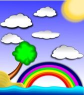 picture with a rainbow and clouds