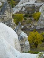 Landscape with the beautiful rock formations in Cappadocia in Turkey