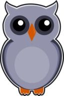 owl gray bird drawing