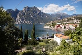 lake garda and mountains in italy