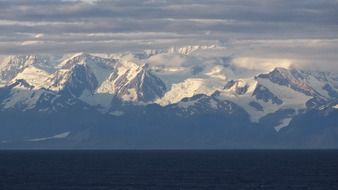 distant view of the glaciers in alaska