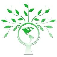 green tree around the planet as a symbol