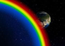 planet and rainbow in space