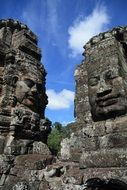 large stone sculptures of the temple of Angkor Wat in Cambodia