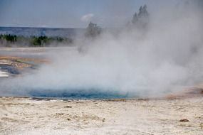 volcanic steam in Yellowstone National Park, Wyoming