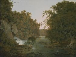 Painting depicts a stream in the forest