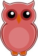 owl pink bird drawing