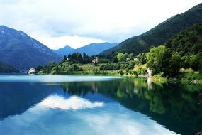 lake near a mountain in italy