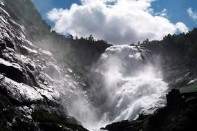 scenic waterfall in Norway