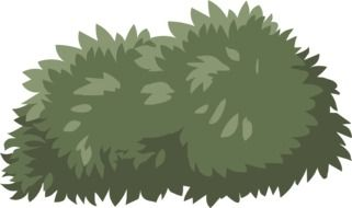 Graphics in the form of a lush dark green bush