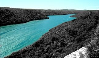 Channel with turquoise water