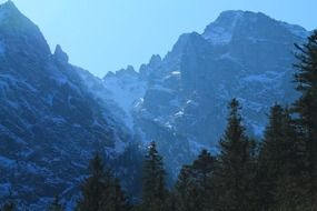 panoramic view of the Tatra mountains in blue haze